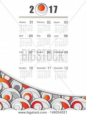 modern 2017 vector calendar design. Elements for your work. Eps10
