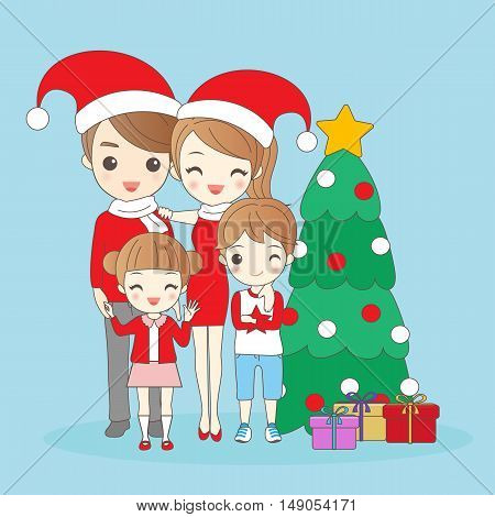 christmas cartoon family is smiling happily to you