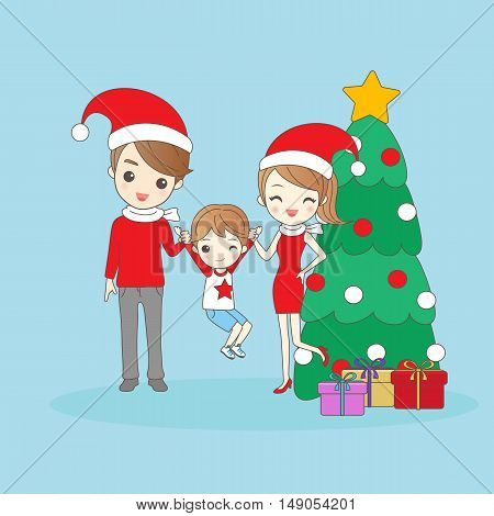 happy christmas father and mother hold on child and smiling to you