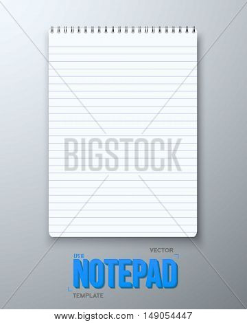 Illustration of Realistic Vector Notepad Office Equipment. White Paper Spiral Notepad with Horisontal Lines.