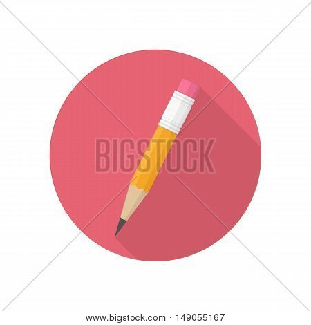 Vector Pencil icon whit long shadow. Design element.
