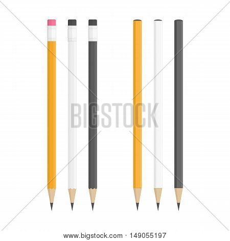 Lead pencils various types on white background. Yellow, white and black wooden pencils in classic style isolated on white background. Corporate Identity And Branding Stationery Templates.