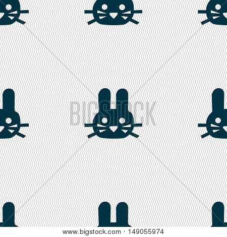 Rabbit Icon Sign. Seamless Pattern With Geometric Texture. Vector