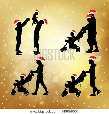 silhouette of christmas family great for your design