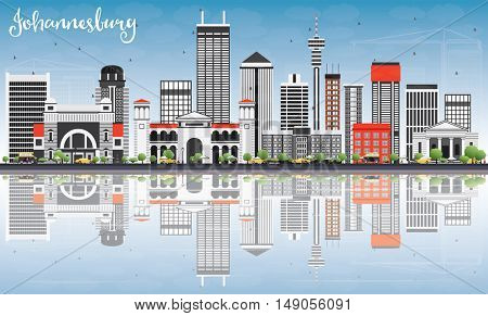 Johannesburg Skyline with Gray Buildings, Blue Sky and Reflections. Business Travel and Tourism Concept with Johannesburg Modern Buildings. Image for Presentation and Banner.