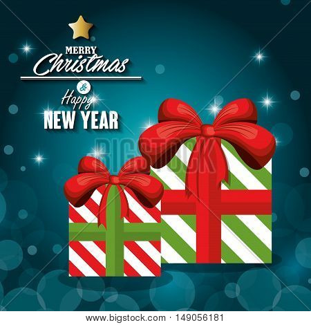 greeitng merry christmas with gift box and shiny night vector illustration eps 10