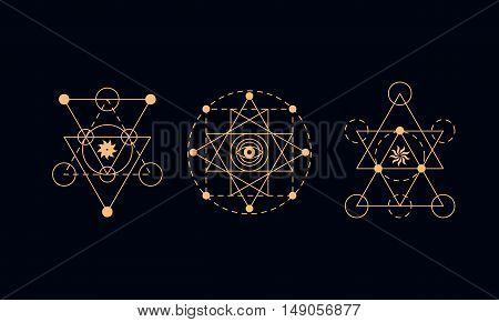 Sacred geometry symbols set. Alchemy vector illustration