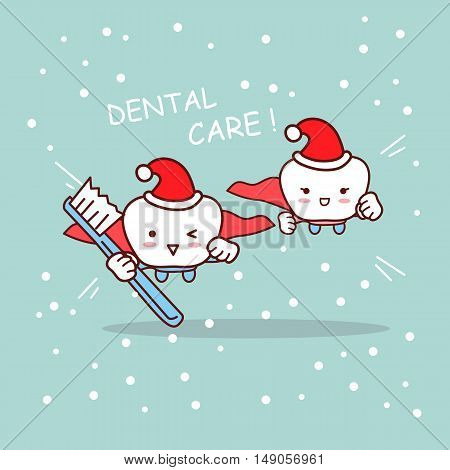 happy christmas cartoon super tooth and dentist take toothbrush great for your design