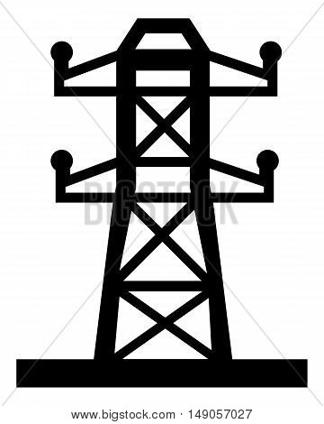 High voltage power lines pylon vector line