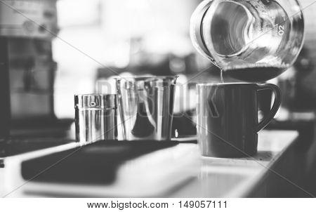Coffee Shop Service Pouring Restaurant Concept