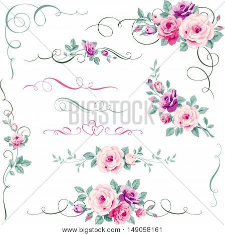 Set of floral calligraphic elements, dividers and corners. Decorative ornament with roses. Greeting card decorations.