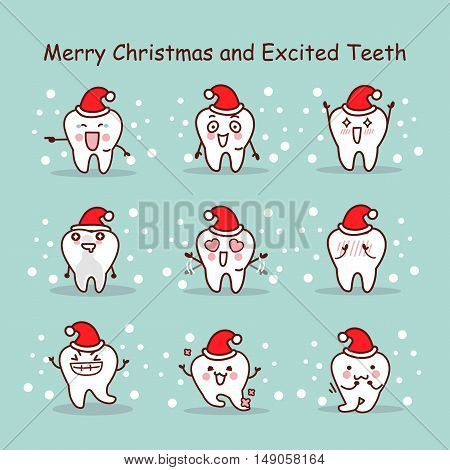 merry christmas and excited teeth great for your design