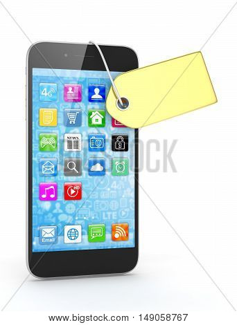 Smart phone with golden price tag on white background. Identification, price, label. Luxury and expensive offer. 3D rendering.