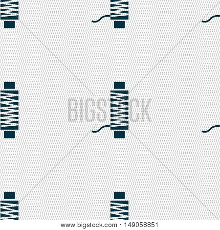 Thread Icon Sign. Seamless Pattern With Geometric Texture. Vector