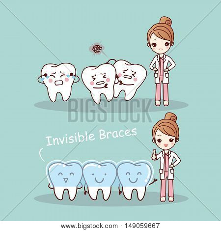 cute cartoon tooth invisible braces with dentist doctor great for health dental care concept