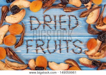 Frame Of Ingredients For Preparing Beverage Or Compote Of Dried Fruits, Healthy Nutrition