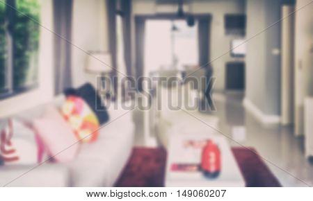 Defocus image of living room interior for background