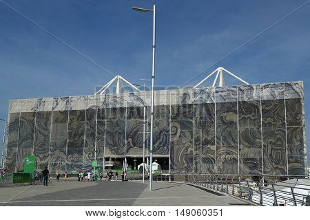 RIO DE JANEIRO, BRAZIL - AUGUST 10, 2016: The Olympic Aquatics Center in Rio Olympic Park during Rio 2016 Olympic Games