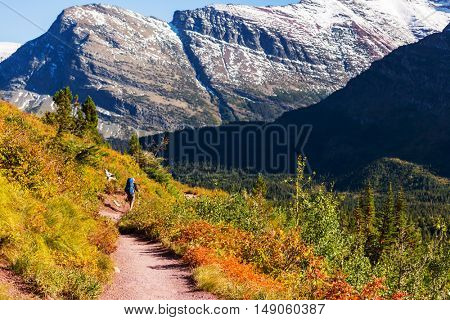Hike in autumn mountains