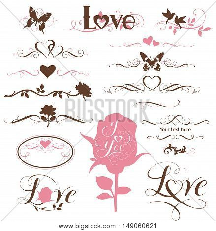 Set of calligraphic elements, decorative hearts and flowers