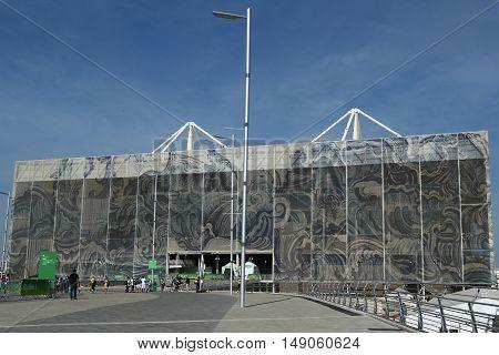 RIO DE JANEIRO, BRAZIL - AUGUST  7, 2016: The Olympic Aquatics Center in Rio Olympic Park during Rio 2016 Olympic Games