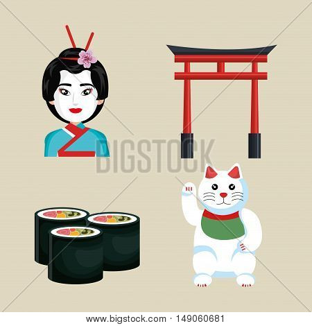 set icon japan traditional culture design vector illustration eps 10