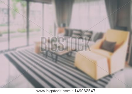 Blurred sofa set in living room for background
