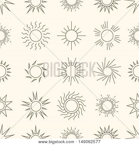 Linear style suns in the sky seamless pattern background. Vector illustration