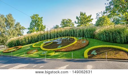 GENEVA,SWITZERLAND - AUGUST 27,2016 - Flower Clock in English Garden of Geneva. Geneva is a global city a financial center and worldwide center for diplomacy.