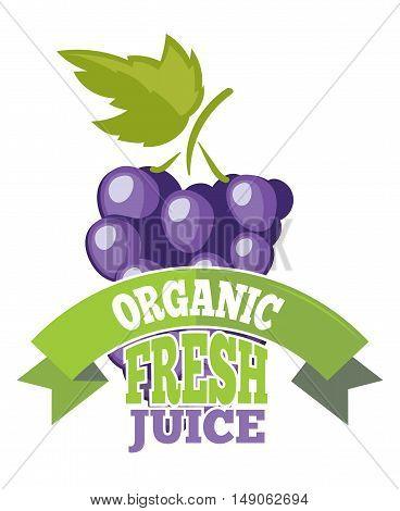 Natural grapes juice with green leaf logo, label. Vector illustration