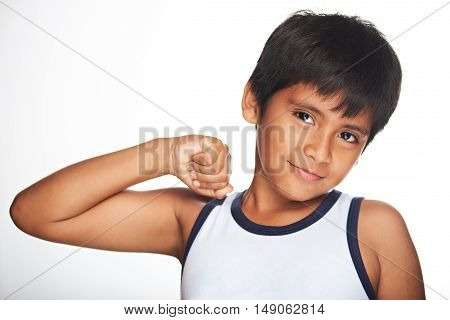 Boy Showing Muscles