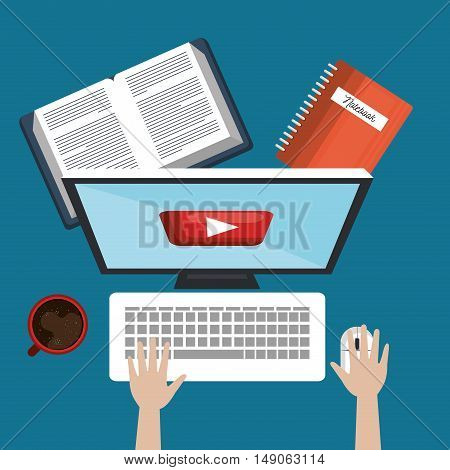 student education online, pc book and cup coffee design vector illustration
