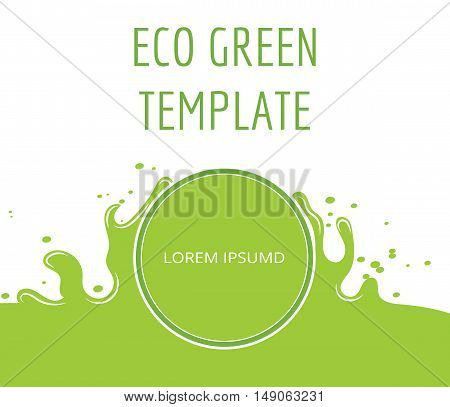 Eco green organic natural template banner. Ecology natural concept, vector illustation