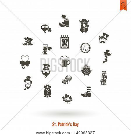 Saint Patricks Day Isolated Icon Set. Vector. Clean Work Minimum Points