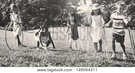 Hula Hoop Friends Girls Playful Nature Offspring Concept