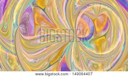 Abstract colorful pink blue and yellow curls. Intricate fractal texture. Fantasy design for posters or greeting cards. Digital art. 3D rendering.