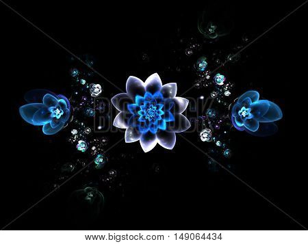 Abstract colorful blue and white flowers on black background. Fantasy fractal design for posters or t-shirts. Digital art. 3D rendering.