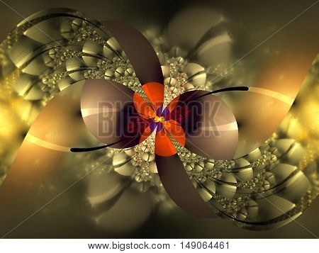Abstract intricate golden floral ornament on black background. Fantasy orange yellow red and beige fractal design for posters wallpapers or t-shirts. Digital art. 3D rendering.