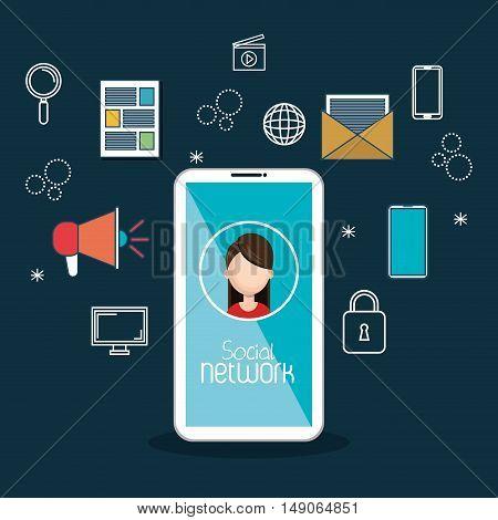 social media technology mobile blue background vector illustration