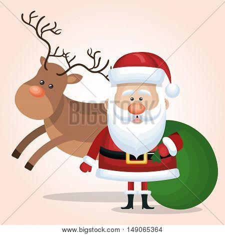 santa calus card reindeer and bag gift green vector illustraion