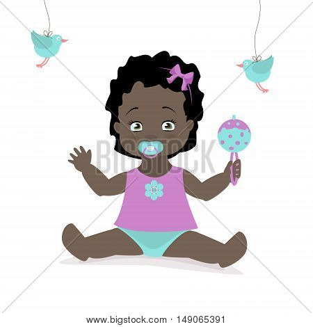 Baby girl sitting with a rattle. Vector cartoon illustration. American African