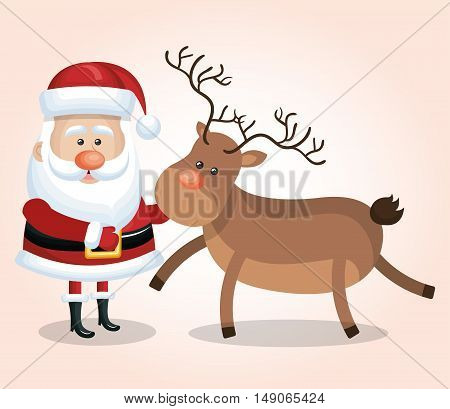 card santa claus big reindeer christmas design vector illustration