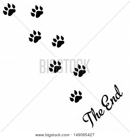 The End. A graphic with animal footprints leaving the area with the words