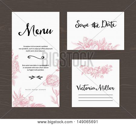 Wedding set. Menu save the date guest card. Pink flowers peonies and roses. Vintage vector illustration.