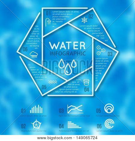 Water infographic vector template with water texture blurred background and line aqua icons. Banner with report information about water illustration