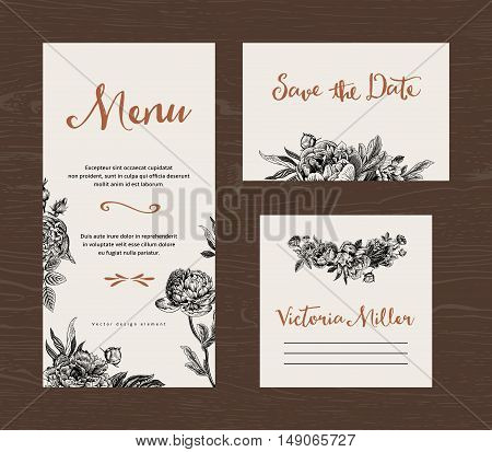 Wedding set. Menu save the date guest card. Black and white flowers peonies and roses. Vintage vector illustration.