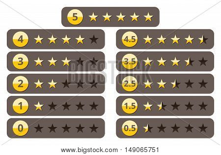 Rating stars, best five yellow star ranking vector icons set. Success and best quality, illustration of web ranking