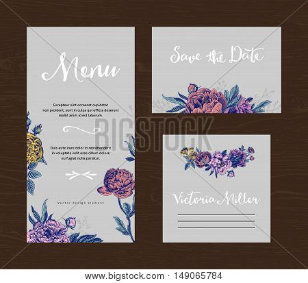 Wedding set. Menu save the date guest card. Colorful flowers peonies and roses on a gray background. Vintage vector illustration.