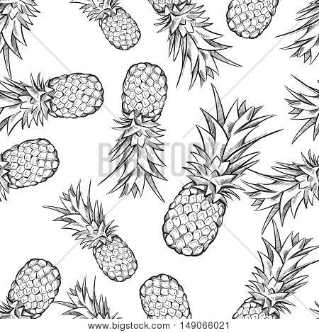 Pineapple vector seamless pattern. Background with exotic fruit sketch illustration