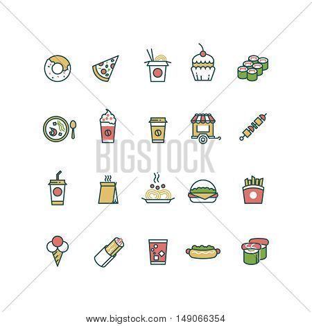 Outline fast food and chinese food vector icons with flat color elements. Pizza and burger, lunch sandwich with cake illustration